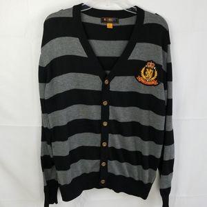 Mens Striped Sweater Cardigan
